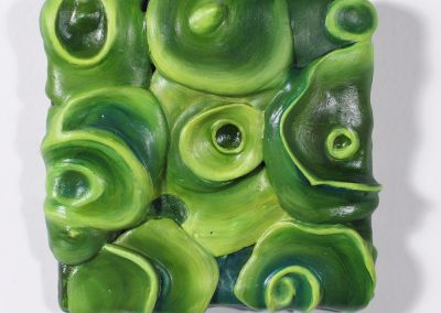 Concentric growth: green | oil on plaster | 5.5 x 5.5 inches